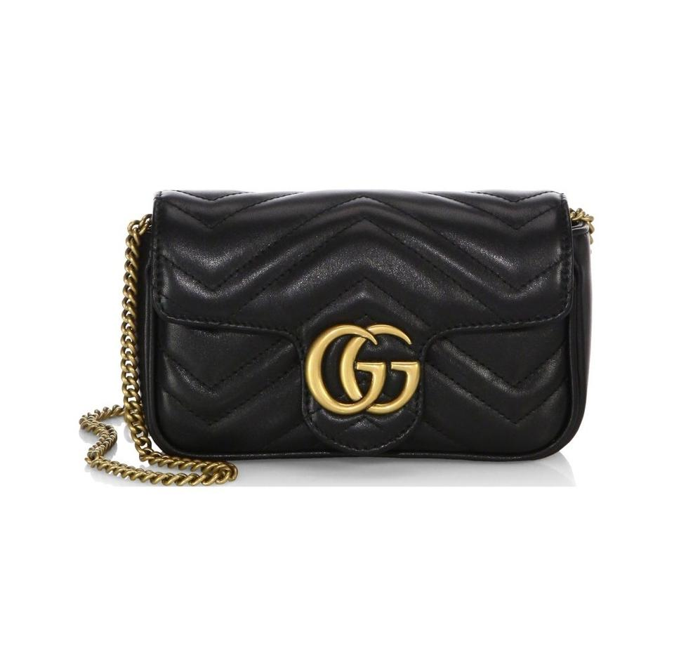 0cbca732d3ce Gucci Marmont New Gg Matelasse Super Mini Chain Camera Black Leather ...
