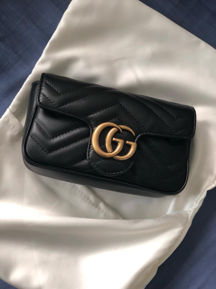b9a4bf953ca8 Gucci Marmont New Gg Matelasse Super Mini Chain Camera Black Leather Shoulder  Bag - Tradesy
