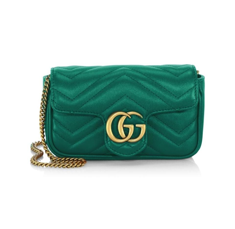 13a8a875262 Gucci Marmont New Gg Matelasse Mini Chain Camera Emerald Green ...