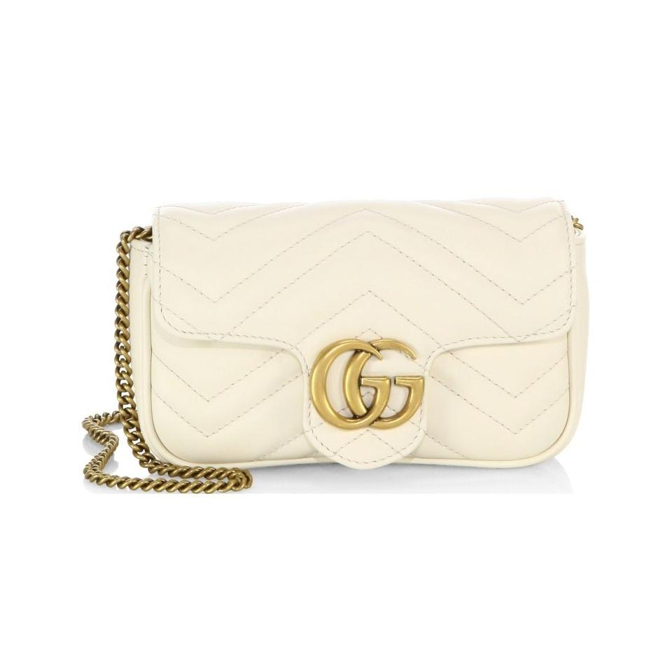 8364cc5fe28c Gucci Camera Marmont New Gg Matelasse Mini Chain White Leather ...