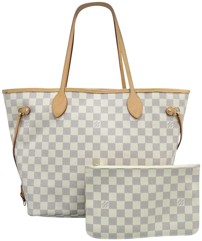 a521de4a0050 Louis Vuitton Neverfull W Mm W P Damier Azur White Canvas Shoulder ...