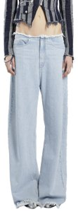 MARQUES'ALMEIDA Wide Frayed Boyfriend Cut Jeans-Light Wash