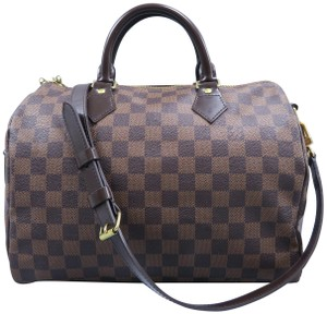 Louis Vuitton Lv Speedy Canvas Damier Ebene Satchel in brown