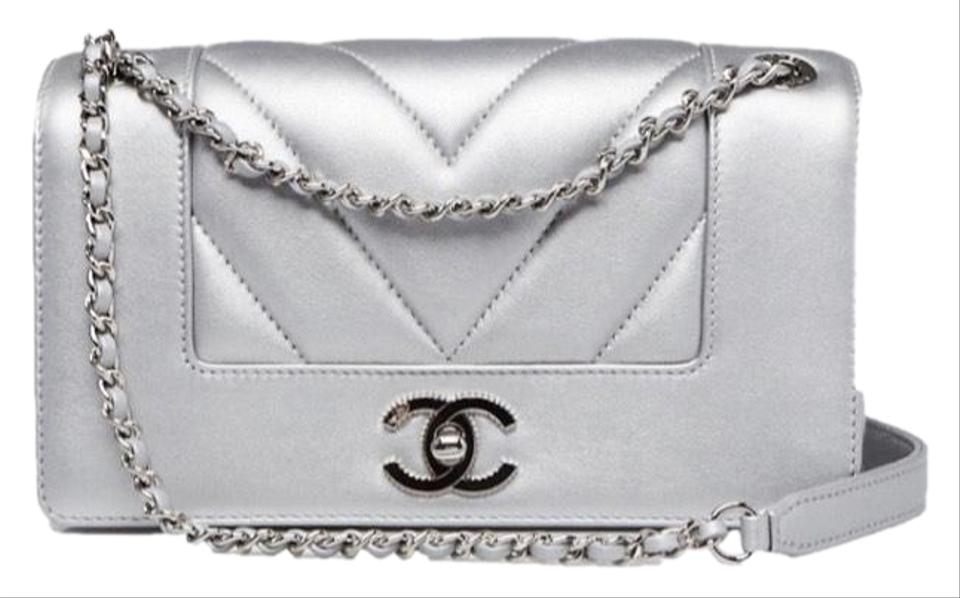 90d9971d565be6 Chanel Mademoiselle New Chevron Small Flap Silver & Black Lambskin Leather Cross  Body Bag