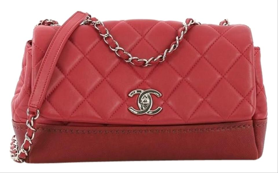 33e27a8516fa01 Chanel Classic Flap Bi Coco Quilted Lambskin with Caviar Medium Red Leather  Shoulder Bag