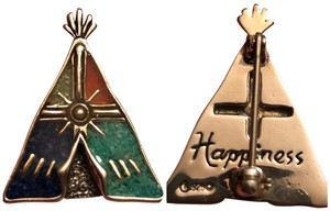 Carolyn Pollack Carolyn Pollack 925 Sterling Silver Crushed Stone Teepee Design Brooch/Pin