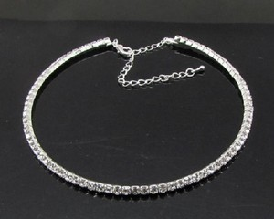 Clear White Gold Plated Single Row Crystal Necklace