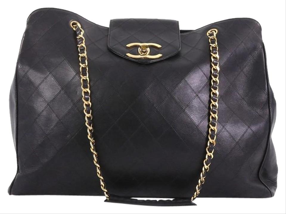 948b681f1176d6 Chanel Supermodel Vintage Weekender Quilted Large Black Leather Tote ...