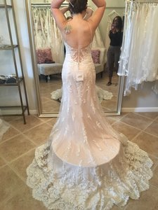 Maggie Sottero Ivory Over Light Champagne Pewter Accent Tulle Vogue Satin with Lace Appliqués Nola Feminine Wedding Dress Size 6 (S)