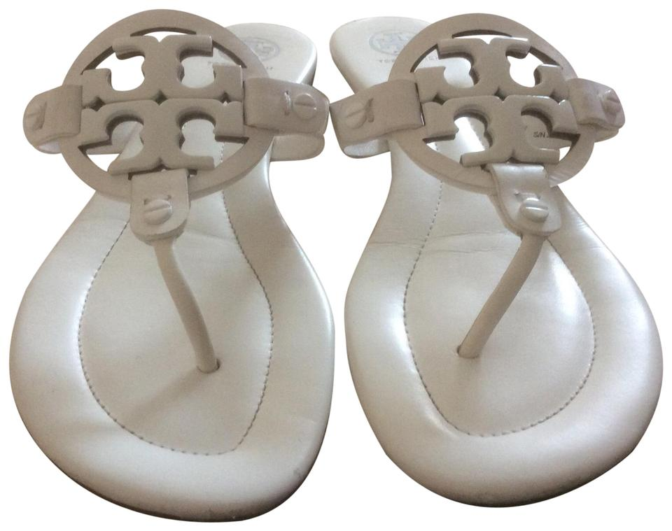 643071758 Tory Burch White Enameled Miller Sandals Size US 8 Regular (M