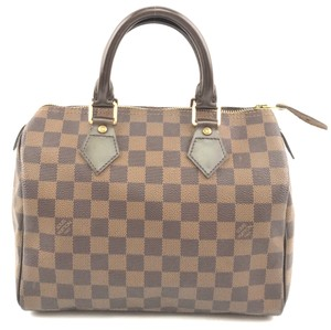 Louis Vuitton Lv Speedy Canvas Satchel in Damier Ebene