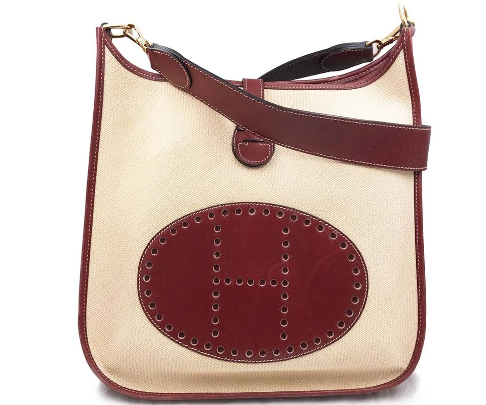 55c79d47b52577 Hermès Evelyne Straw Gm Burgundy Red Beige Leather Canvas Cross Body ...