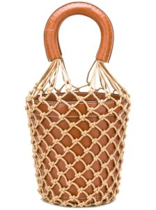 STAUD Leather Fishnet Tote in Brown