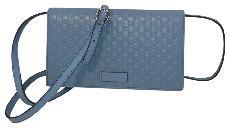 658c88c8f4b Gucci Gg Leather Wallet On Strap Blue Cross Body Bag - Tradesy