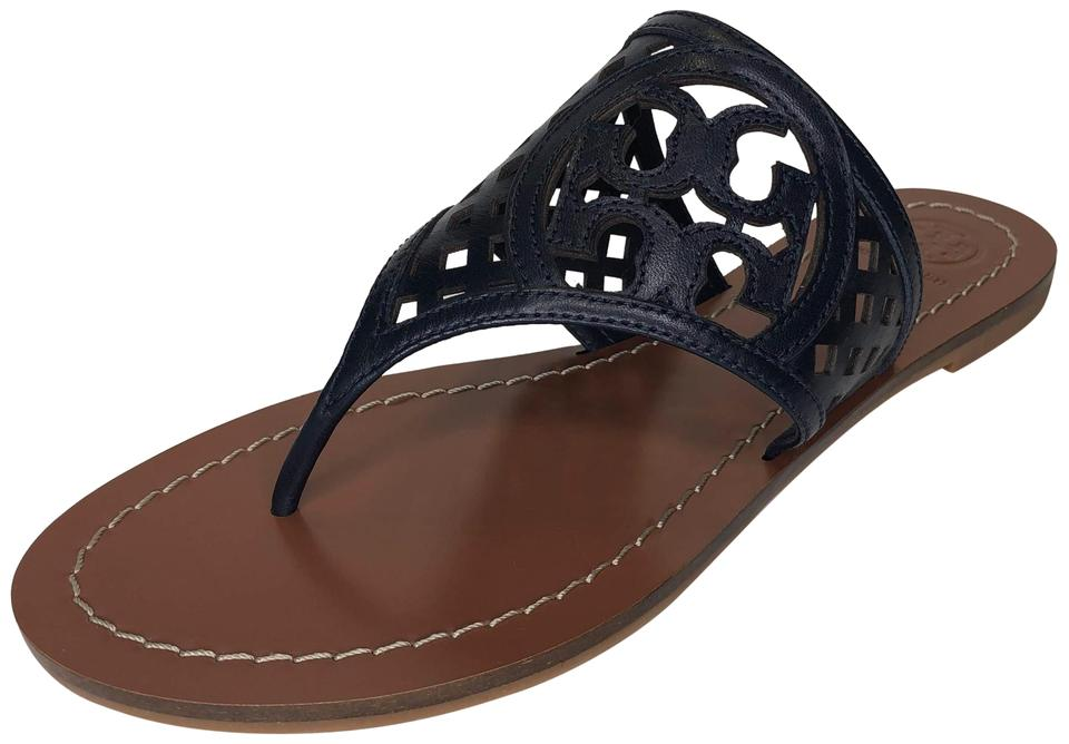 b47db2e6f Tory Burch Perfect Navy 430 Thatched Perforated Leather Logo Thong Sandals