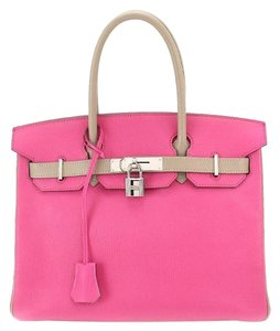 Hermes Birkin 30 Pink Birkin Pink Birkin Satchel in Rose Tyriene and light grey