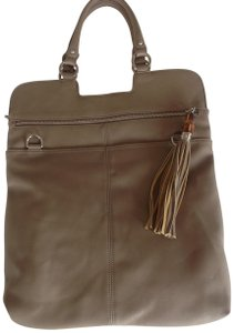 Sorial Bamboo Genuine Lrather Silver Hardware Tote in Taupe
