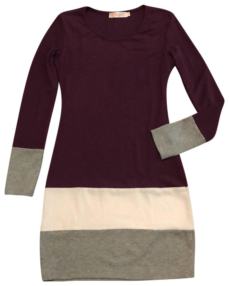 d7e1999a8228 Allegra K Purple Gray and White Sweater Short Casual Dress Size 2 ...