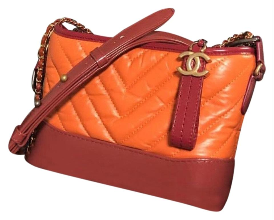 94aa2f6e5b90 Chanel Gabrielle Hobo Small Orange Light Red & Dark Red Aged ...