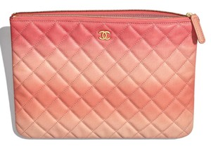b8d0f9085796dd Chanel Coral Clutch. Chanel Classic Quilted Caviar O-case Pouch Coral Leather  Clutch