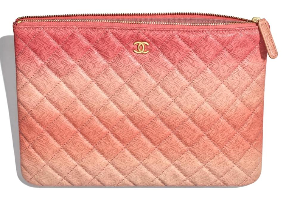 454f1b88edf6 Chanel Classic Quilted Caviar O-case Pouch Coral Leather Clutch ...
