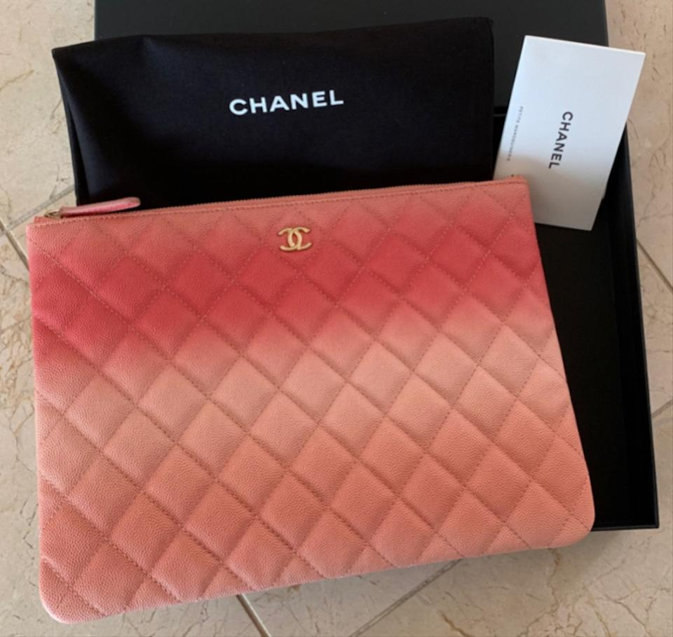 cdbd5ad80ea6 Chanel Classic Quilted Caviar O-case Pouch Coral Leather Clutch ...
