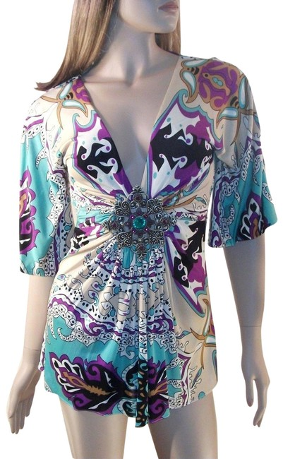 Item - Silk with Crystal Medallion Multi-color Top