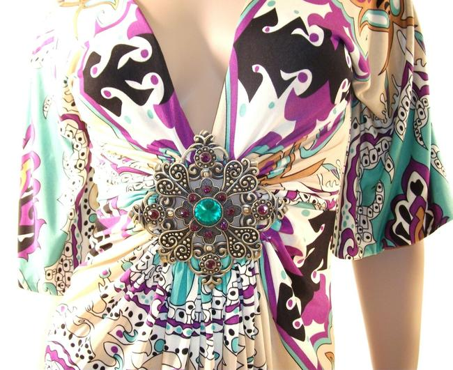 Sky Silk with Crystal Medallion Multi-color Top Sky Silk with Crystal Medallion Multi-color Top Image 5