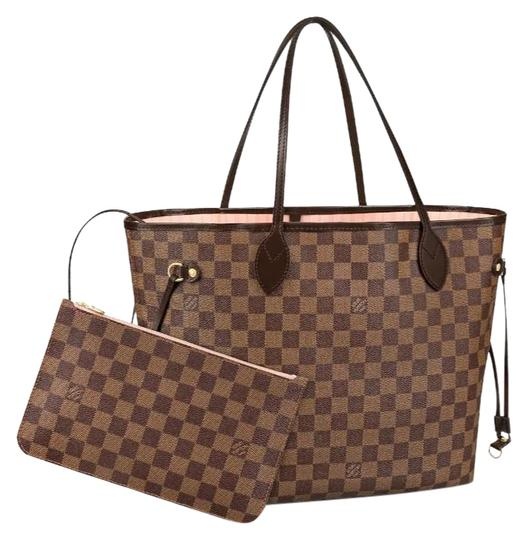 Preload https://img-static.tradesy.com/item/25178267/louis-vuitton-neverfull-2019-mm-damier-ebene-rose-ballerine-with-pouch-brown-coated-canvas-tote-0-1-540-540.jpg
