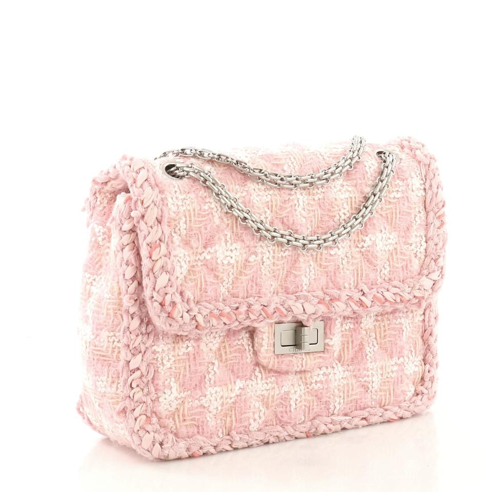 46a6680a30ea78 Chanel 2.55 Reissue Reissue Square Handbag Quilted Pink Tweed Shoulder Bag  - Tradesy