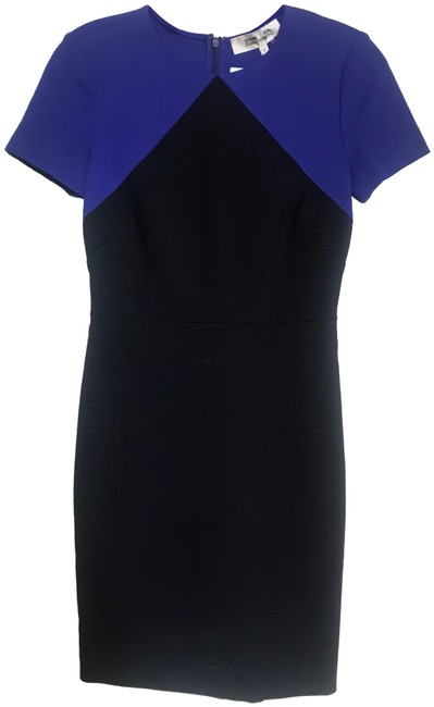 Item - Black/Blue Dvf S/S Tailored Electric Blue/Black Combo Mid-length Short Casual Dress Size 0 (XS)