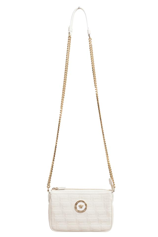 9330eb3f2db Versace Quilted Chain Strap Crossbody White Leather Shoulder Bag ...