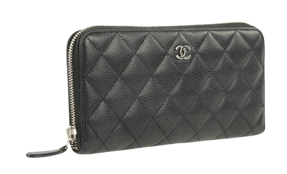 27b7fc36b5d1c5 Chanel L Quilted L-gusset Zip Around Black Leather Clutch - Tradesy