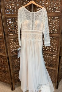 Maggie Sottero Ivory Over Light Gold Chiffon and Lace Deirdre Modest Wedding Dress Size 14 (L)
