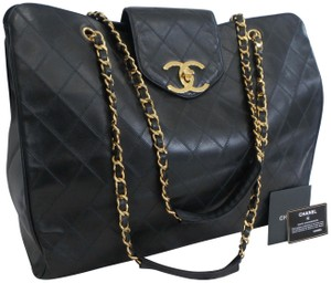 36459cc64664f1 Added to Shopping Bag. Chanel Vintage Large Black Travel Bag. Chanel  Supermodel Quilted Tote Black Leather ...