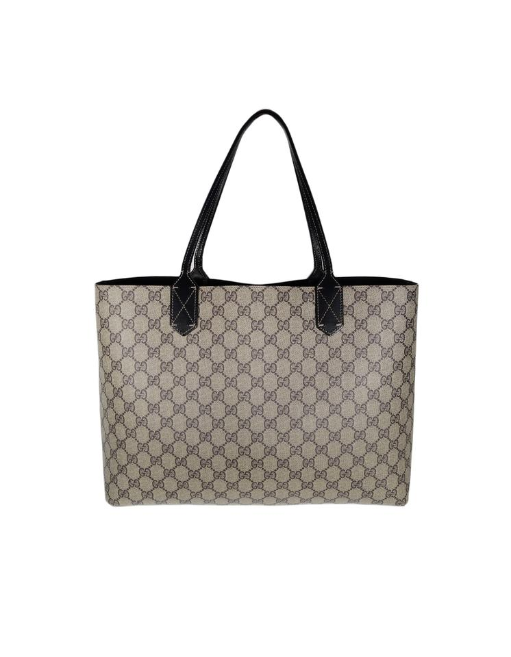 c1fc8648a144 Gucci Monogram Canvas Reversible Gg Medium Black Tan Leather Tote ...