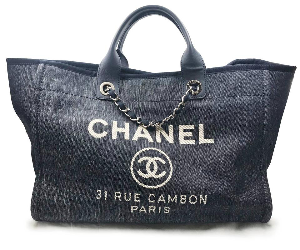 c6187c72db7f4e Chanel Deauville Bag Denim Hardware Large Navy Blue Silver Canvas ...