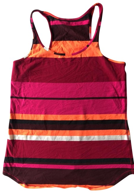 Item - Pink Black Orange Plum Striped Tank Activewear Top Size 8 (M)