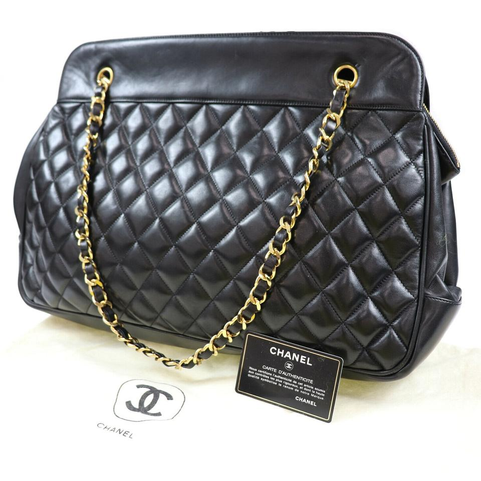 2961ed94176d Chanel Quilted Matelasse Chain Navy Almost Like Black Lambskin ...