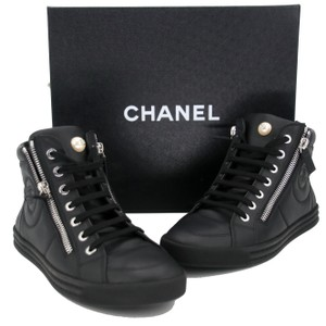 85481aed4568 Chanel Mother Of Pearl Cc Sneakers Leather Sneakers Black Athletic
