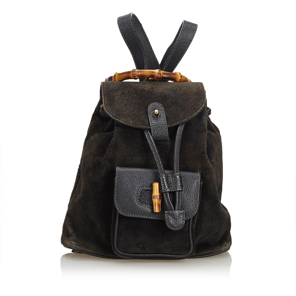 c9a8c566f55 Gucci Suede Bamboo Drawstring Italy Black Leather Backpack - Tradesy