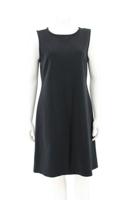 Preload https://img-static.tradesy.com/item/25180205/liz-claiborne-black-cotton-ponte-knit-sleeveless-shift-short-casual-dress-size-10-m-0-0-650-650.jpg