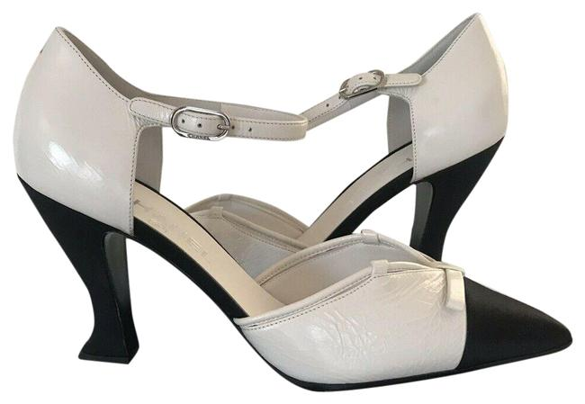 Item - Black 18a Other Open Satin White Leather Greek Pumps Size EU 39.5 (Approx. US 9.5) Regular (M, B)