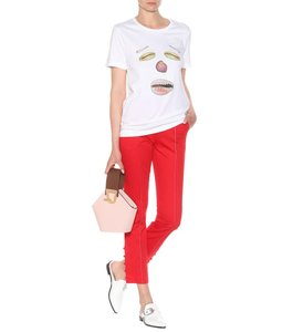 Rosie Assoulin Straight Pants Red white stitching