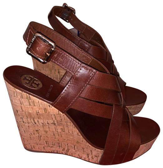 91a20ccb1f27 Tory Burch Sienna Brown Ace High Sandal Wedges Size US 9 Regular (M ...