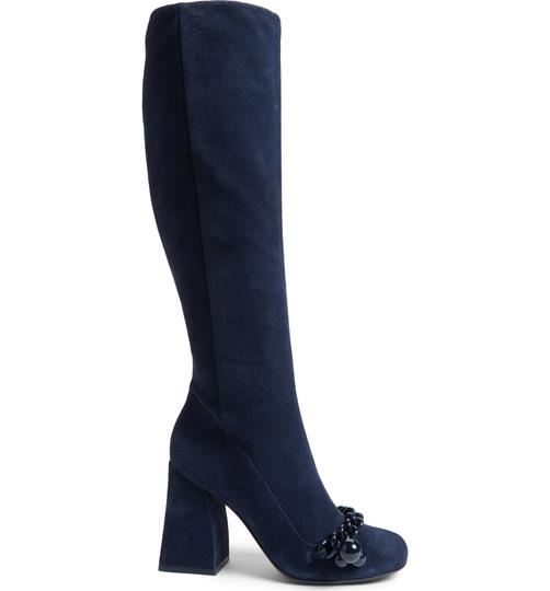 Tory Burch Suede Royal Navy Blue Boots Image 1