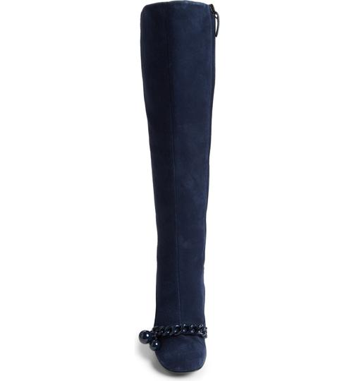 Tory Burch Suede Royal Navy Blue Boots Image 2