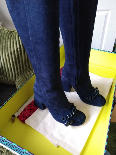 Tory Burch Suede Royal Navy Blue Boots Image 7