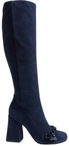 Tory Burch Suede Royal Navy Blue Boots