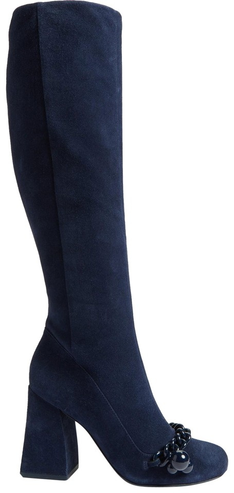 7fee8033c Tory Burch Royal Navy Blue Addison Chain Trim Suede Boots Booties ...